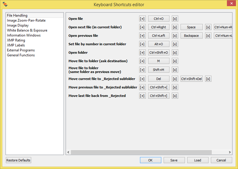 FastRawViewer Keyboard Shortcuts