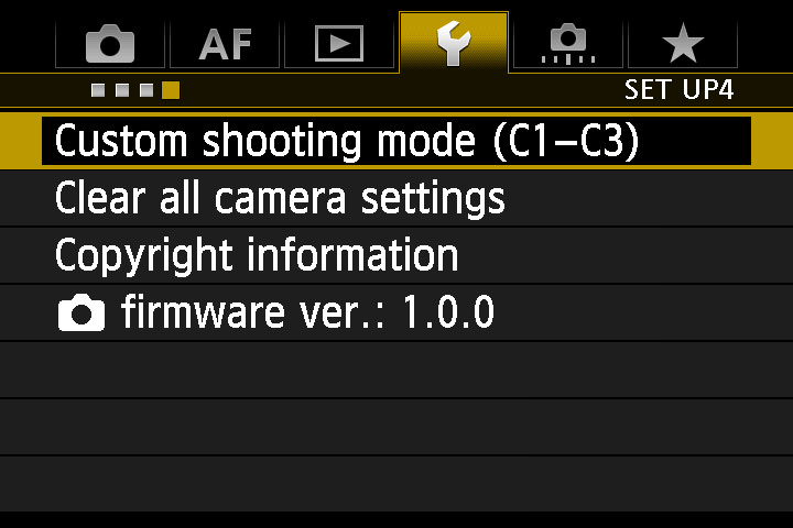Canon 7D Mark II Setup Menu