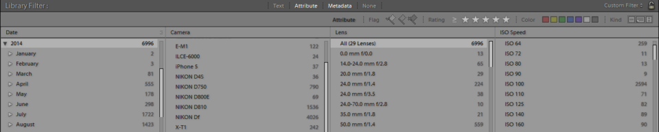 Lightroom Library Filter and Attribute