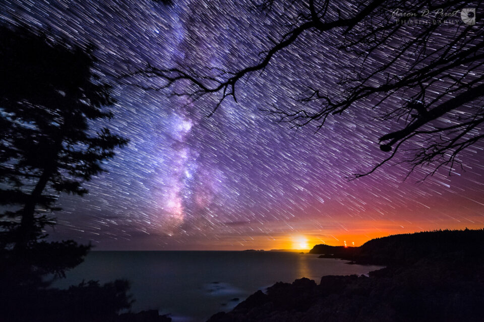 Milky Way and Star Trails over the Bold Coast of Maine