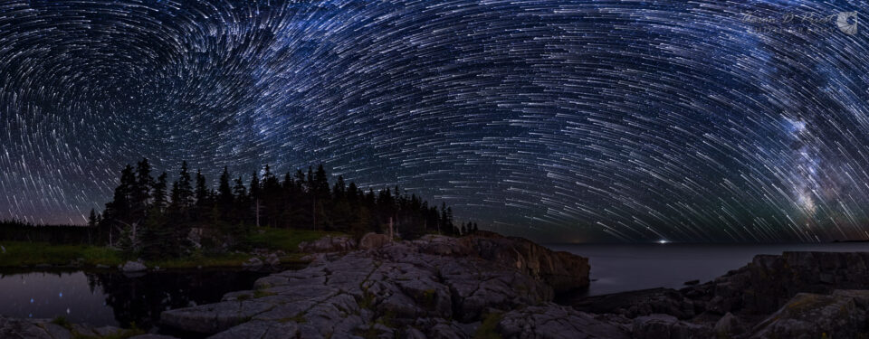 Vortex star trails over the Bold Coast of Maine