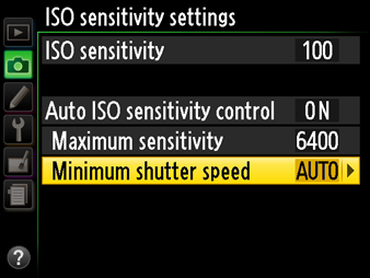 Nikon Auto ISO Sensitivity Settings