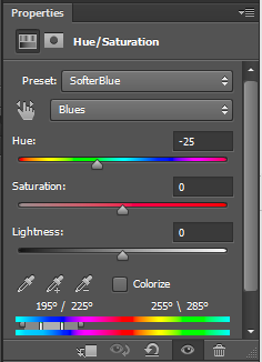 Blue Hue Saturation Adjustment