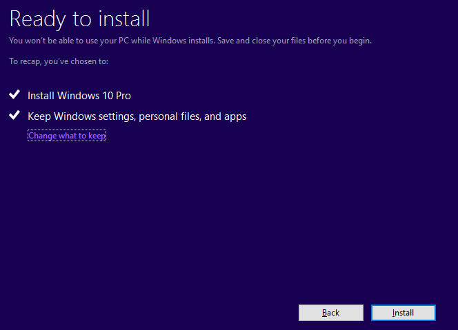 Windows 10 Ready to Install