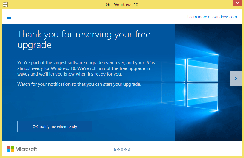 Windows 10 Reserve