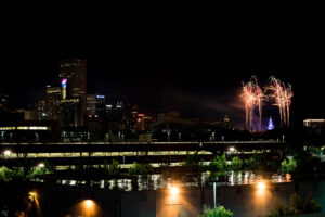 Denver Skyline and Fireworks