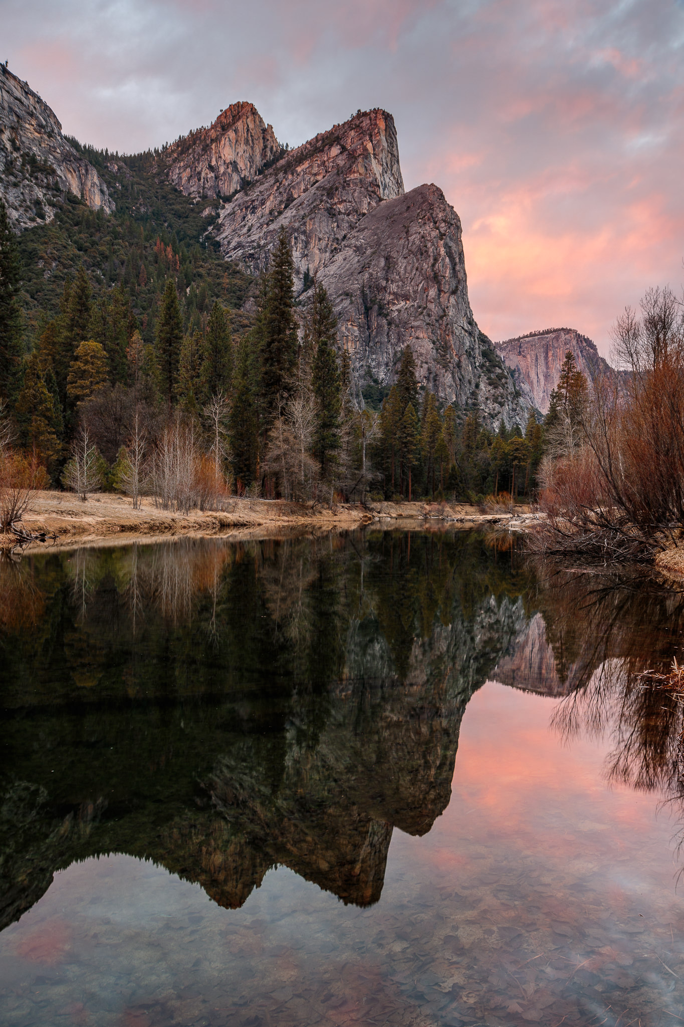 Yosemite Three Brothers Sunset