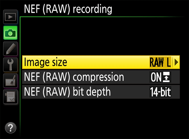Nikon NEF Recording Options