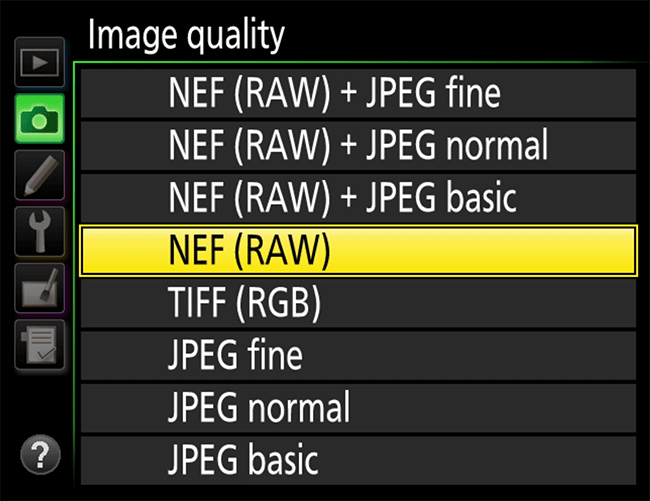 Nikon RAW Shooting Menu