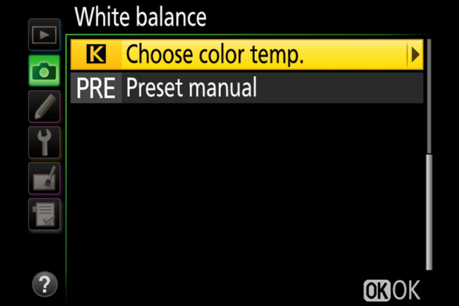 White Balance Color Temperature and Preset Manual
