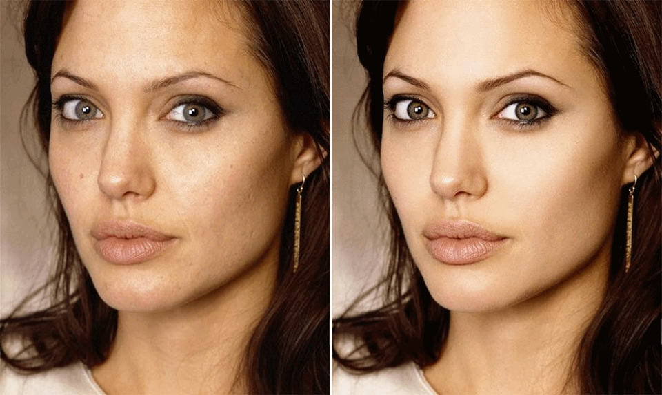 Angelina Jolie Before and After Retouch