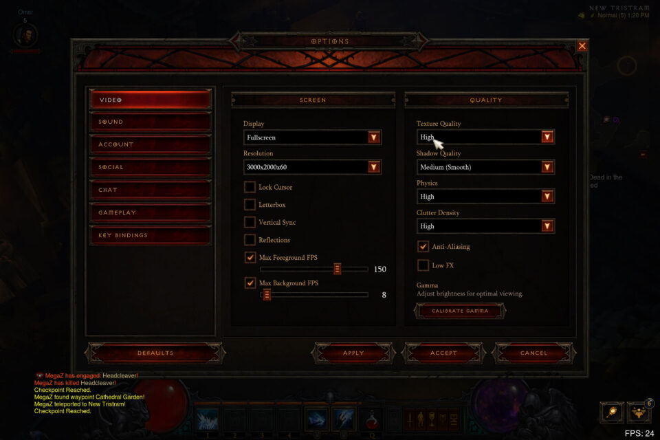 Diablo 3 Settings