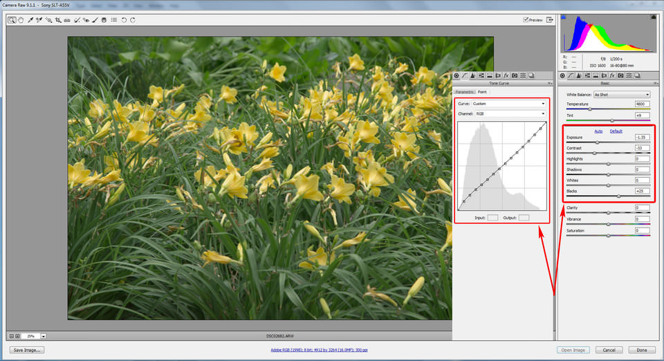 Figure 12. Zeroed-out settings for PV2012