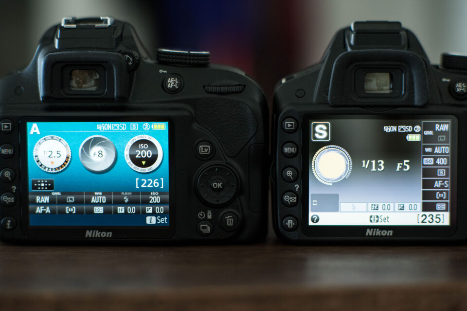 Nikon D3300 info screen (left) compared to Nikon D3200 info screen (right)
