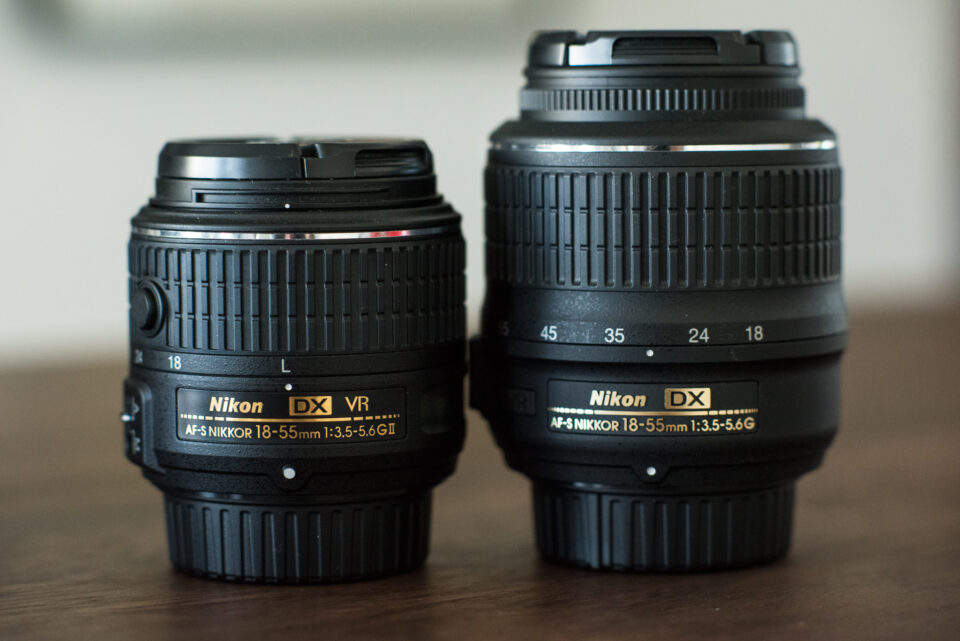 Nikon D3300 lens (left) compared to Nikon D3200 lens (right)