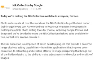 Google's Nik Software is now FREE!