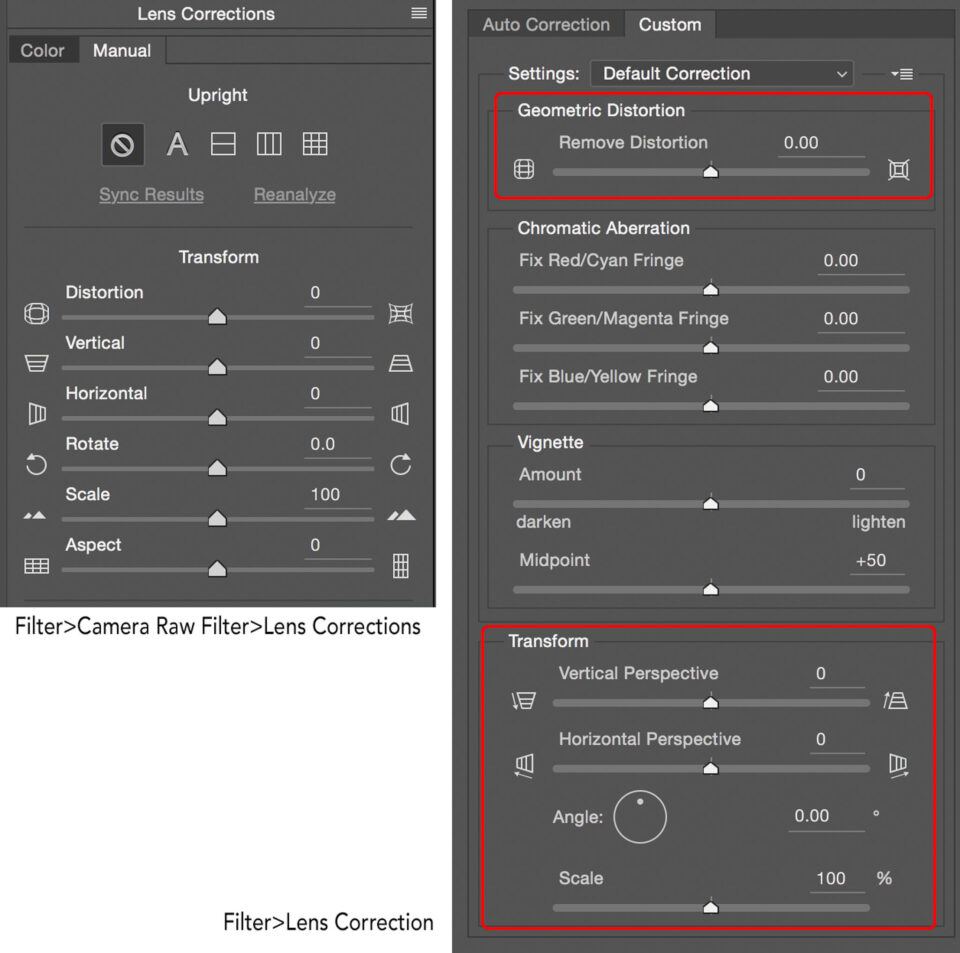 Photoshop Correction Menus