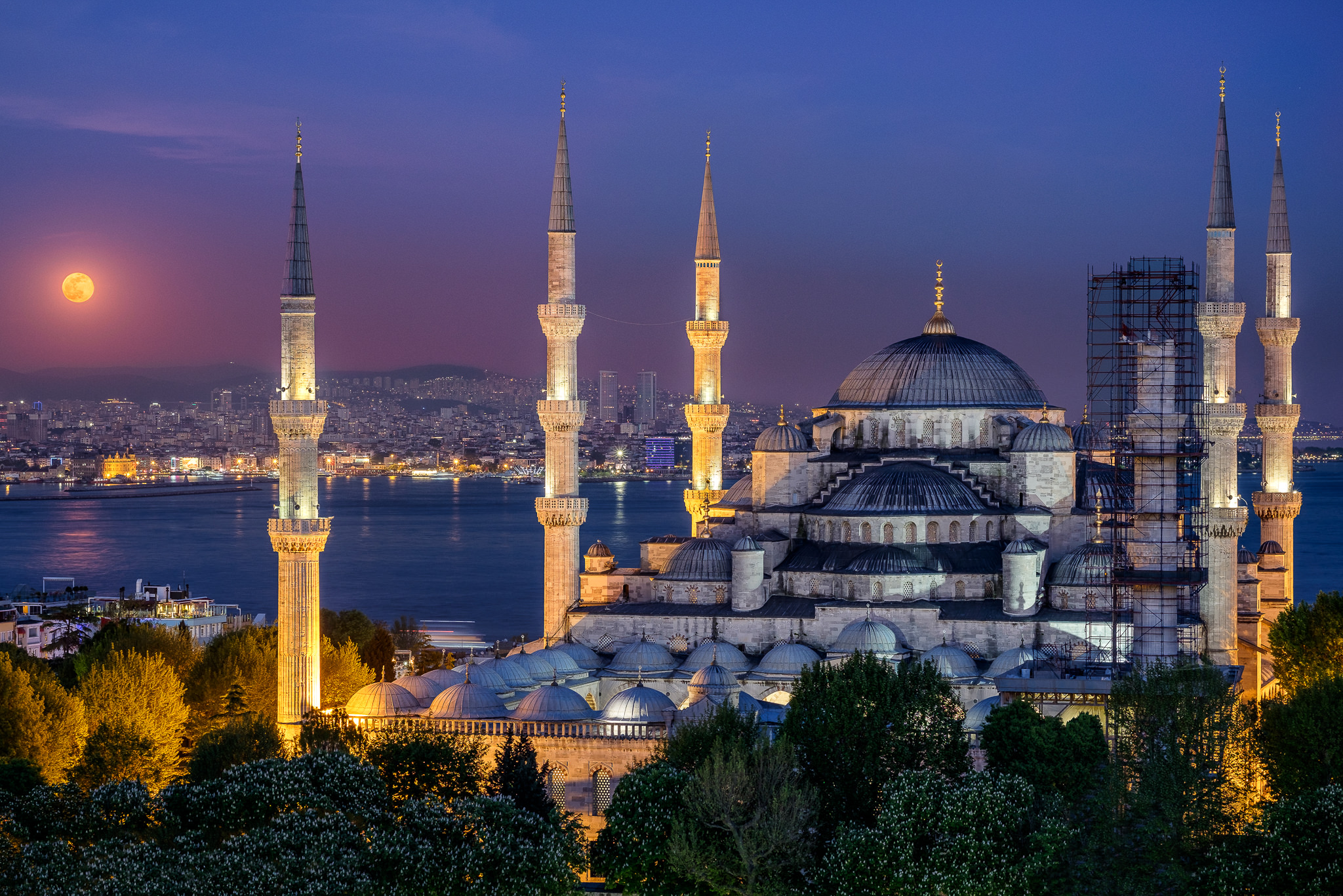 Moonrise Above the Blue Mosque