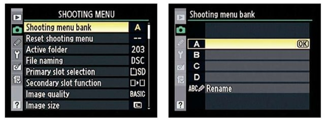 Nikon Shooting Menu Bank