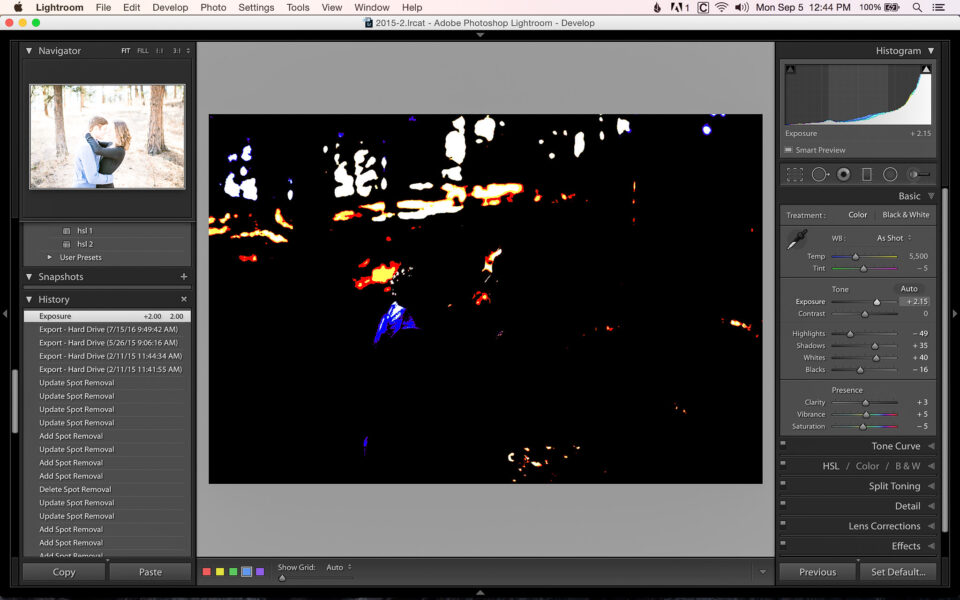 Clipping while adjusting exposure