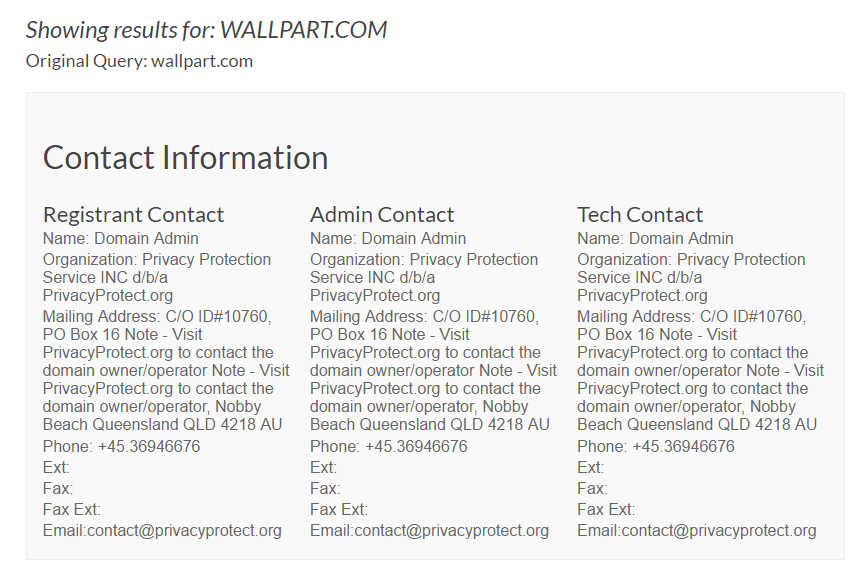 Wallpart.com Domain Whois