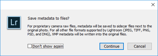 Lightroom Save Metadata to Files