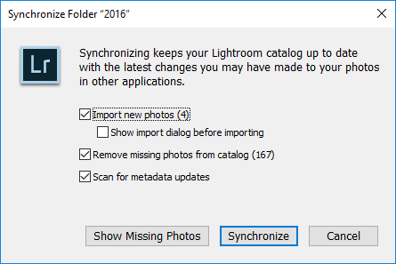 Lightroom Synchronize Import