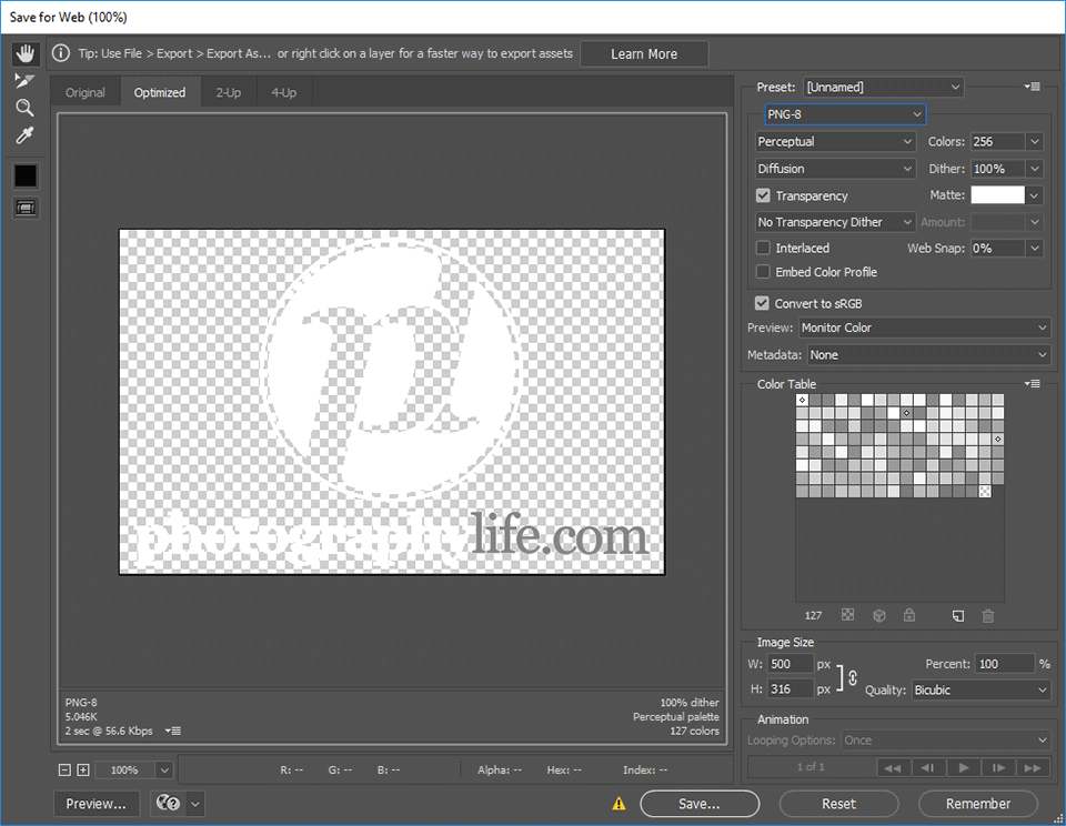 Photoshop Save for Web PNG Logo
