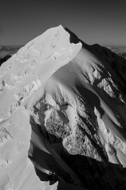 Black and White Image of a Mountain. in New Zealand