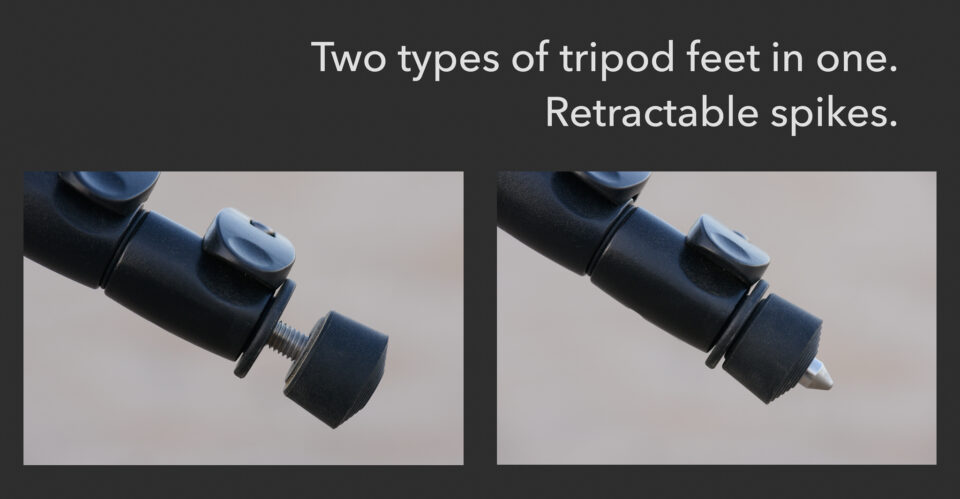 Retractable spiked tripod feet