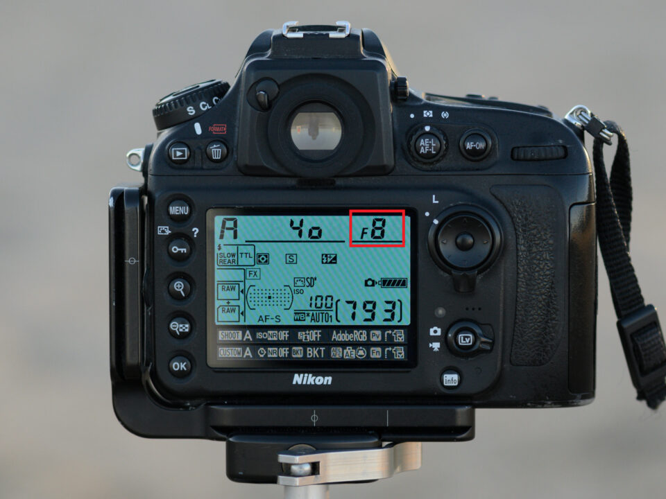 An image of F-stop on the LCD of a camera. Understanding aperture in photography.