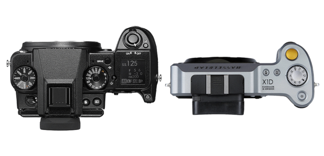 Fuji GFX 50S vs Hasselblad X1D-50c Top View