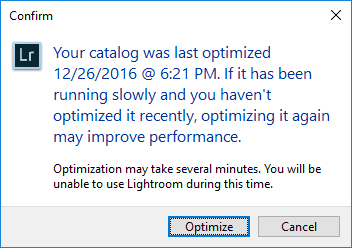 Lightroom Optimize Catalog
