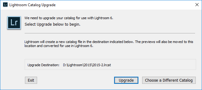 Lightroom Upgrade Prompt