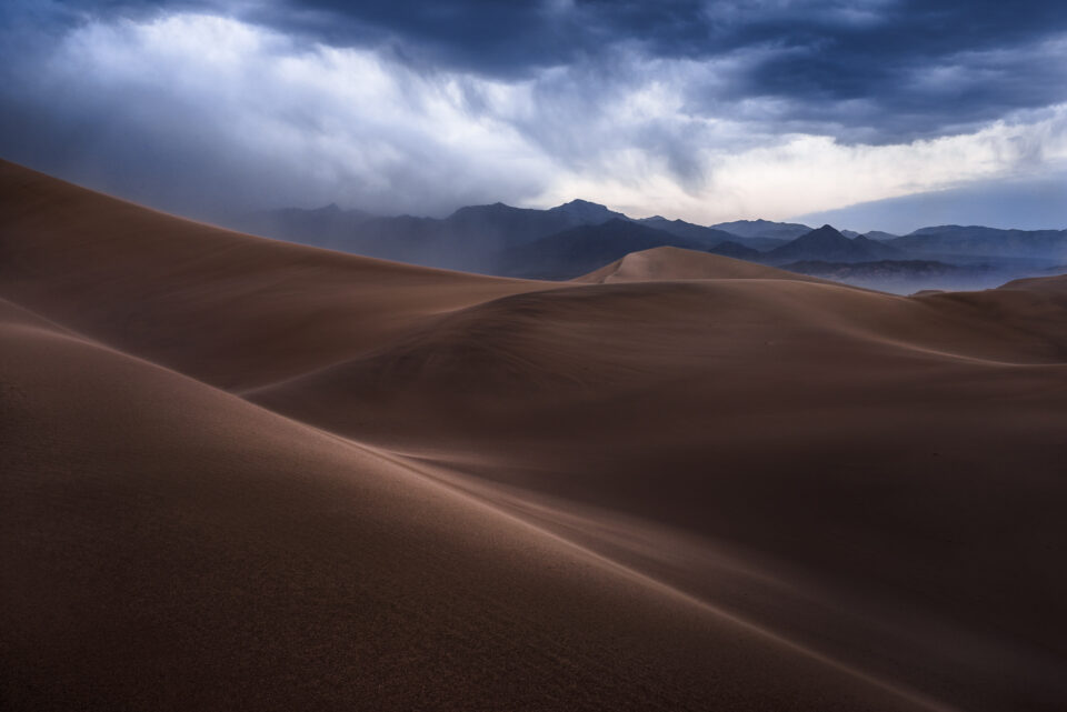 A photo of a stormy sand dunes - how aperture affects photos