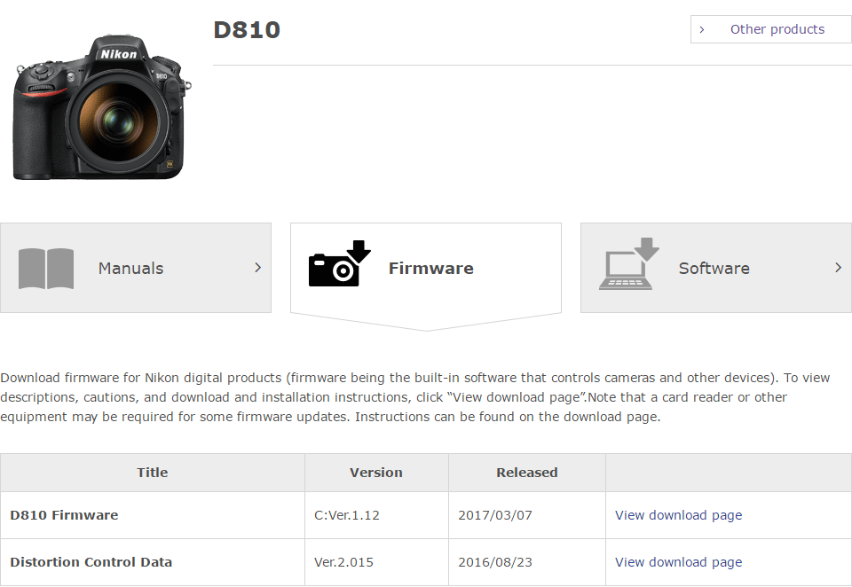 Nikon D810 Firmware Download