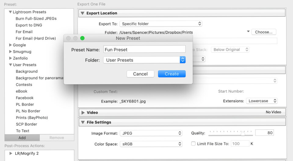 Create-Export-Preset