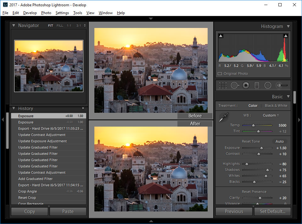 Lightroom Change Before After
