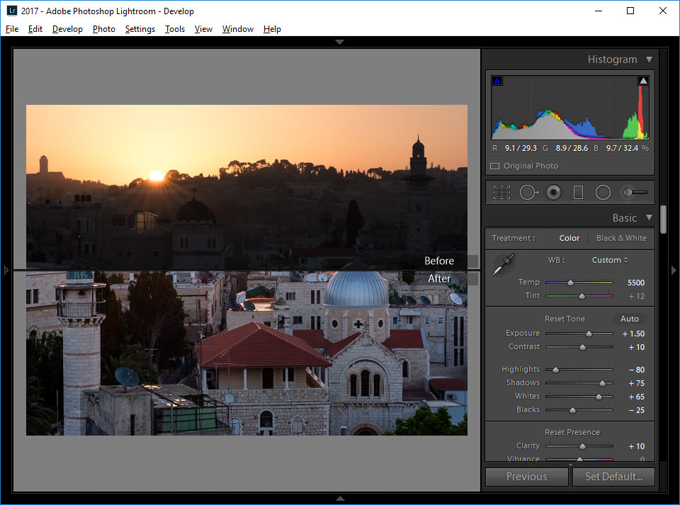 Lightroom Top and Bottom Horizontal