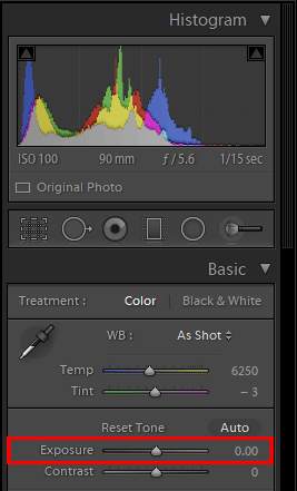 Exposure Slider in Lightroom