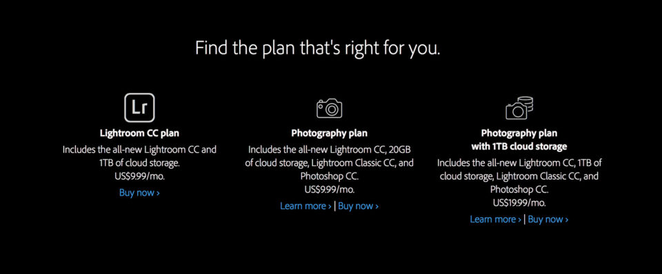 Adobe purchasing plans for Lightroom