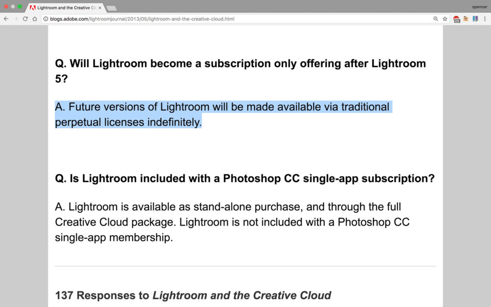 Standalone Lightroom will be offered indefinitely