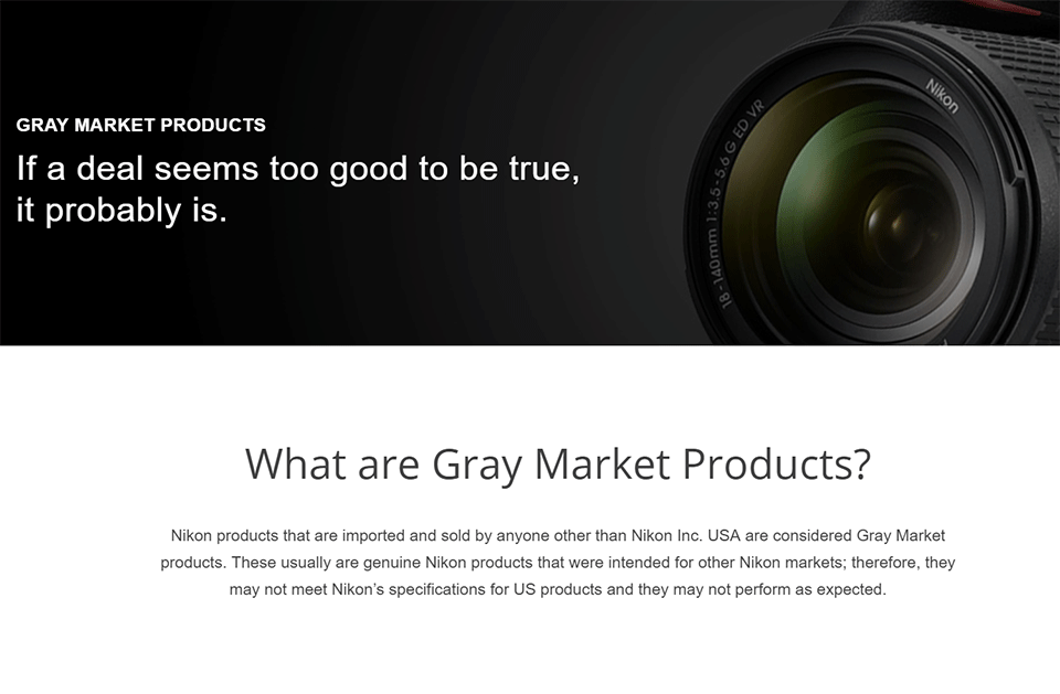 Nikon Gray Market Product