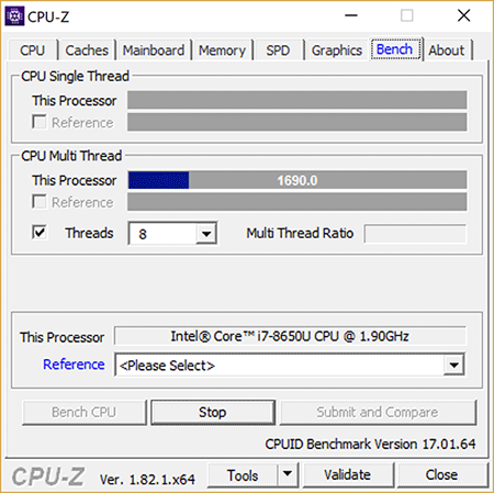 Surface Book 2 CPU-Z Multi-Thread Load CPU Speed Drop