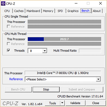 Surface Book 2 CPU-Z Multi-Thread Load
