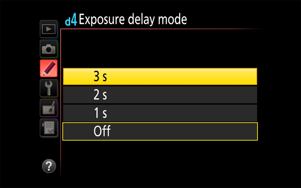 Exposure Delay Mode Setting
