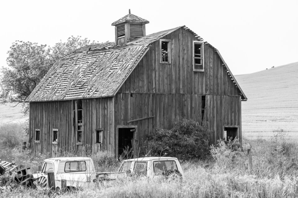 Old Barn and Cars