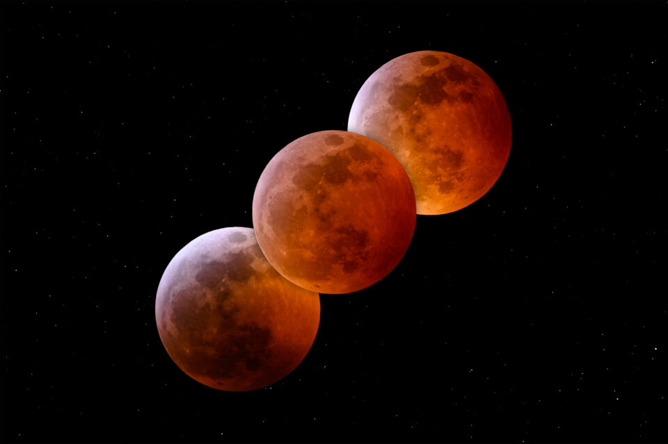 Total Lunar Eclipse Phases, captured with Nikon 300mm f/4D and 1.4x Teleconverter