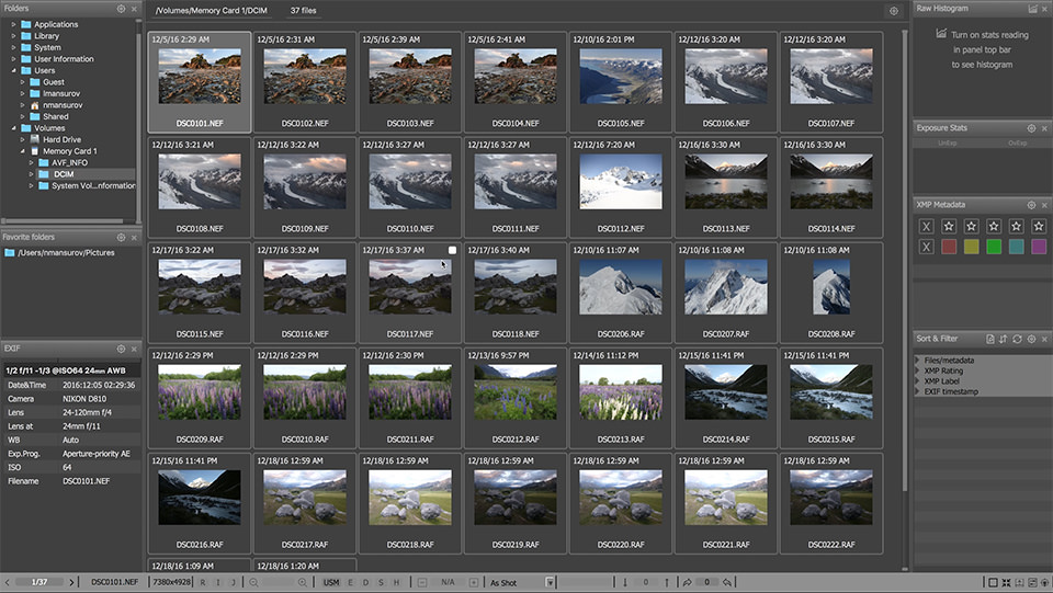 FastRawViewer Grid View