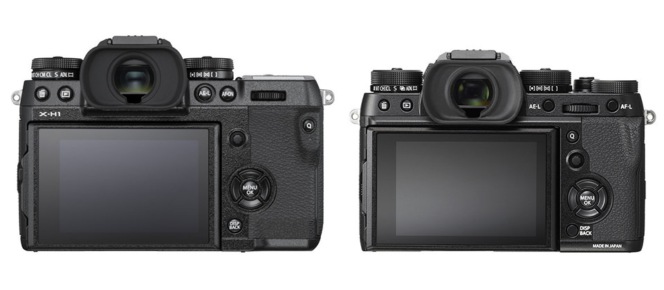 Fuji X-H1 vs X-T2 Back View